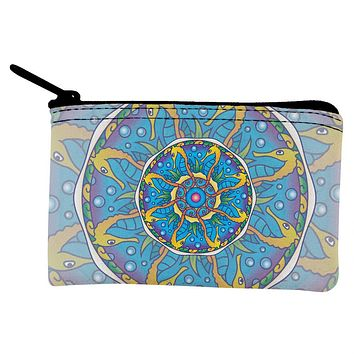 Mandala Trippy Stained Glass Seahorse Coin Purse