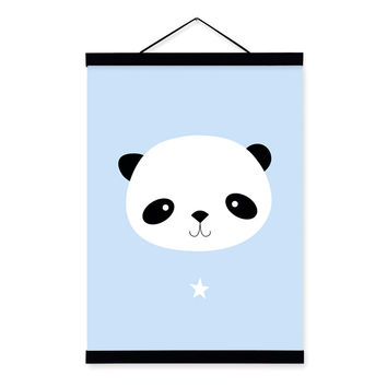Kawaii Animal Small Panda Star Wooden Framed Canvas Painting Baby Kids Room Decor Nuresery Wall Art Print Pictures Poster Scroll