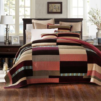 DaDa Bedding Classical Desert Sands Warm Tones Velveteen Patchwork Quilted Bedspread Set (JHW-577)