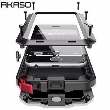AKASO Luxury Rugged Armor Shockproof Metal Aluminum Case for iPhone 6 6S 6S Plus +Tempered glass