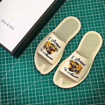 Gucci Leather Slide With Bow #3 Sandals - Best Online Sale