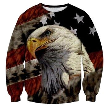 Eagle American Flag All Over Print Sweat Shirts - Men's