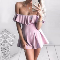 New fashion sexy off shoulder strapless layered falbala show thin romper