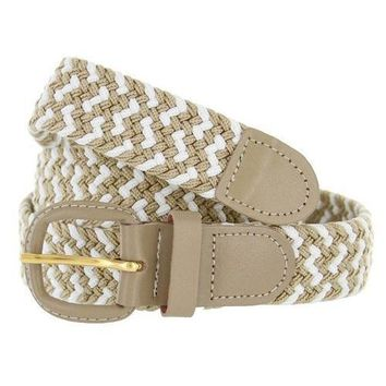 Leather Buckle and Tip Braided Elastic Woven Stretch Belt