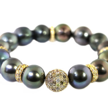 4.90ct Pave Fancy Diamond in Tahitian Peacock Pearl Stretch Bracelet