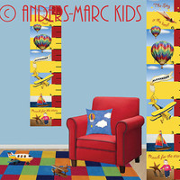 """Personalized Tall Canvas Growth Chart goes up to 6' 6"""". For the quick early sprouting tall kids in your life. Customize with child's picture"""