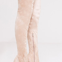 Emmi Stone Faux Suede Extreme Thigh High Heeled Boots