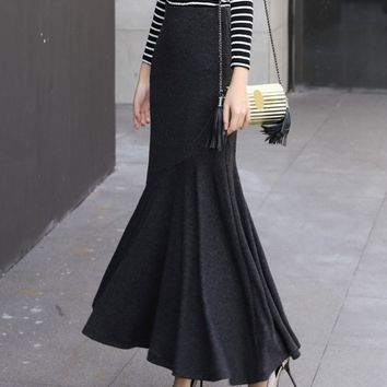 Fashion Women's Skirts Trumpet Luxury Slim Maxi Long Feminine Aline Thick Springy 2018 Spring Elegant Party 50S Skirt Black New