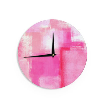 "CarolLynn Tice ""Running Late"" Pink White Wall Clock"