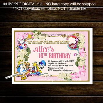 Alice in wonderland Birthday Invitation, Alice Mad tea party first birthday any age 1st 2nd 3rd 4th 5th 6th 7th 8th 9th 10th - card 821