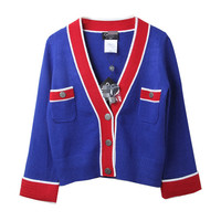 Blue Red V-Neck Button Crop Cardigan