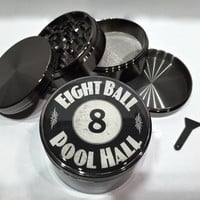 "Eight Ball Pool Hall 4 Piece Silver Alumium Grinder 2.5"" Wide Herb 8 Game"
