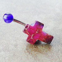Cross Belly Button Ring Jewelry Purple Magenta by CuteBellyRings