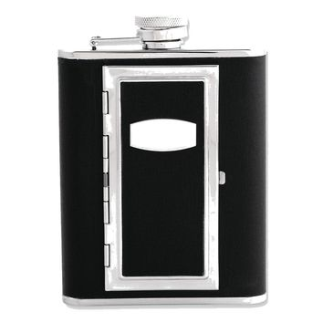 Black Faux Leather Flask Cigarette Holder with Funnel - Engravable Gift Item