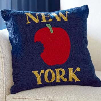 NEW YORK CITY CREWEL EMBROIDERED PILLOW