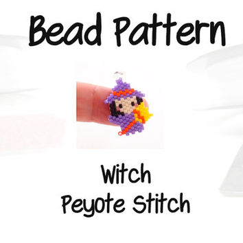 Purple Witch Peyote Stitch Bead Pattern, PDF Digital Download