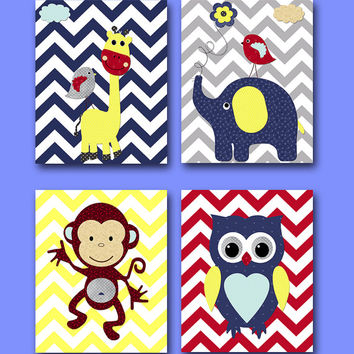 Monkey Nursery Owl Nursery Giraffe Nursery Elephant Nursery Baby Boy Nursery Art Print Children Wall Art Baby Room Decor Print set of 4 8x10
