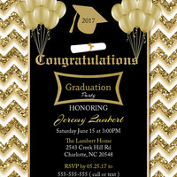 Graduation invitation Black and Gold Glitter invitations class of 2017 Chevron invitation Graduation invite for boys Printable Senior invite