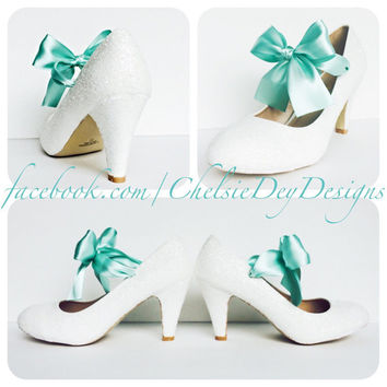 The Vow Glitter High Heels with Mint Bow