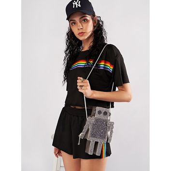 Rainbow Crop Top And Shorts Set