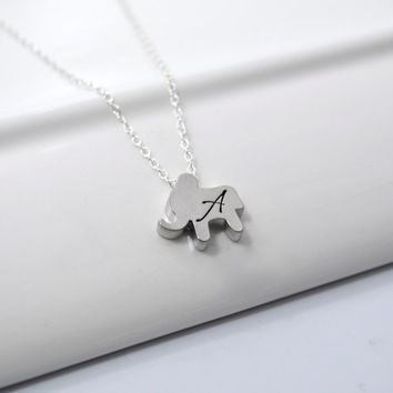 Tiny Elephant Initial Necklace | Good Luck Prosperity Elephant Charm Necklace