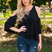 Gia Lace Up Top - Black