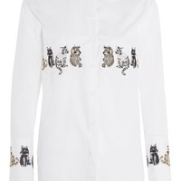 Embroidered cat shirt - Clothing