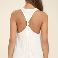 Knot So Basic White Tank Top