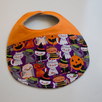 Halloween Baby Bib / Costume Cats - Teething Bib / Gender Neutral Bib - Cat Bib - Drool Bib