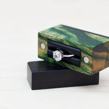Ring box made from stabilised poplar and ebony wood - engagement ring box - proposal ring box - Ready to ship