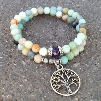 Positivity and Balance, amazonite 54 bead wrap mala bracelet with amethyst bead