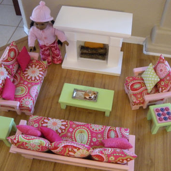 Doll Couch Loveseat Chair Tables with Fireplace for American Girl Dolls or 18-inch Dolls