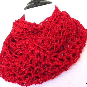 Sparkly Red Infinity Scarf, Gift for Her