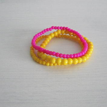 Tropical yellow bracelet- neon pink accent- boho chic style- neon pink, yellow colors