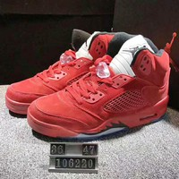 NIKE Air Jordan 5 Women Men Fashion Casual Running Sport Shoes Sneakers Red G-XYXY-FTQ
