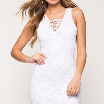 Romantics Lace Up Bodycon Dress