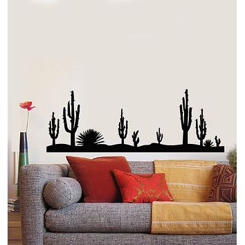 Vinyl Wall Decal Nature Cactus Sandy Desert Plant Landscape Stickers Mural (g1417)