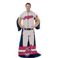 Cleveland Indians MLB Adult Uniform Comfy Throw Blanket w- Sleeves