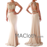 Mermaid Two Pieces Champagne Crystals Jersey Prom Dress 160127