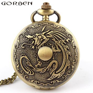 Gorben Watch Chinese Antique Fiery Dragon Fire Quartz Pocket Watch Retro Bronze Men Women Watch Pendant Necklace Long Chain P111