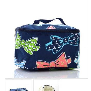 Bow Tie Print Cosmetic Bag