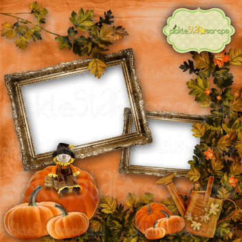 Autumn Delights - 12x12 inch - Digital Scrapbook QUICKPAGE Layout - Pre-Made Quickpages - Pre-Made Layouts - INSTANT DOWNLOAD