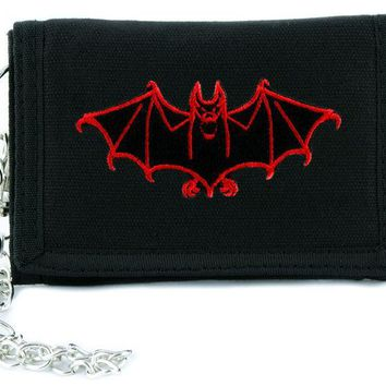 ac spbest Red Vampire Halloween Bat Tri-fold Wallet w/ Chain Occult Clothing