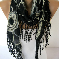 NEW--Scarf - Elegant Black Scarf- Fashion Scarf- Shawls-Scarves -Christmas Gift