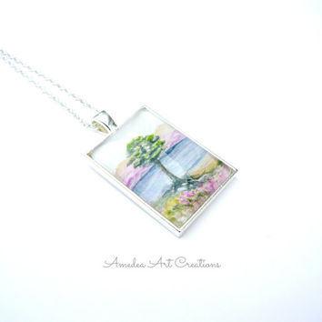Tree by Sea watercolour pendant - hand painted jewelry - glass pendant - silver plated necklace - painted pendant - tree pendant