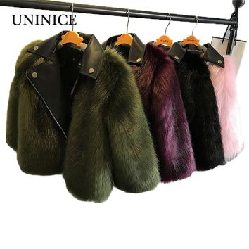 UNINICE Girls Fur Coats New Baby Girls Faux Leather Fox Fur Motorcycle Jackets
