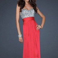 Red A-line Floor-length Strapless Dress from sweetheart dresses