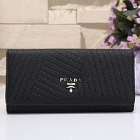 Perfect Prada Women Shopping Leather Buckle Wallet Purse