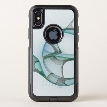Fractal Art Blue Turquoise Gray Abstract Elegance OtterBox Commuter iPhone X Case