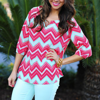 Sweet As Candy Top: Pink/Mint | Hope's
